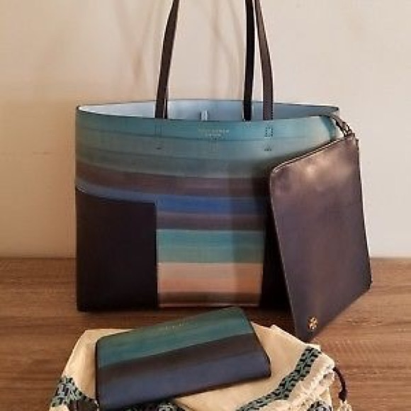 c21309dd3bbd NWT Tory burch block t - multicolor tote large